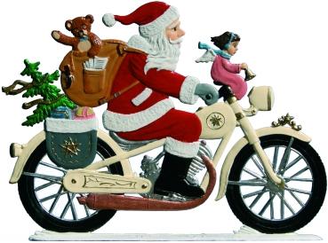 Weihnachtsbilder Motorrad.Pewter Figurine Santa